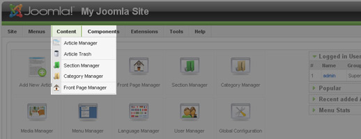 Joomla Admin Page