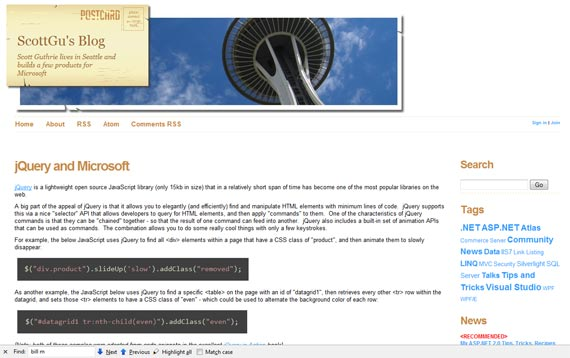 jQuery Sample via Scott's Blog