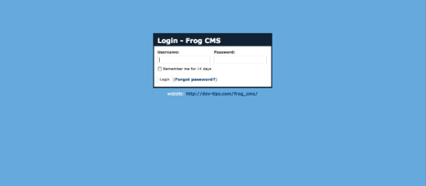 Frog Login Screenshot
