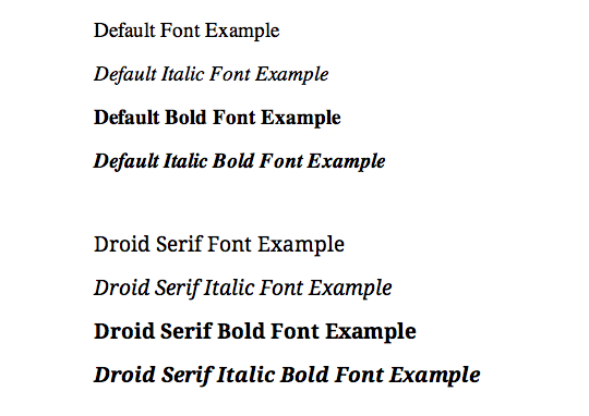 Droid Font Family Example