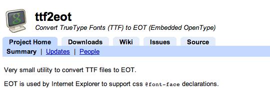ttf2eot Command Line Utility