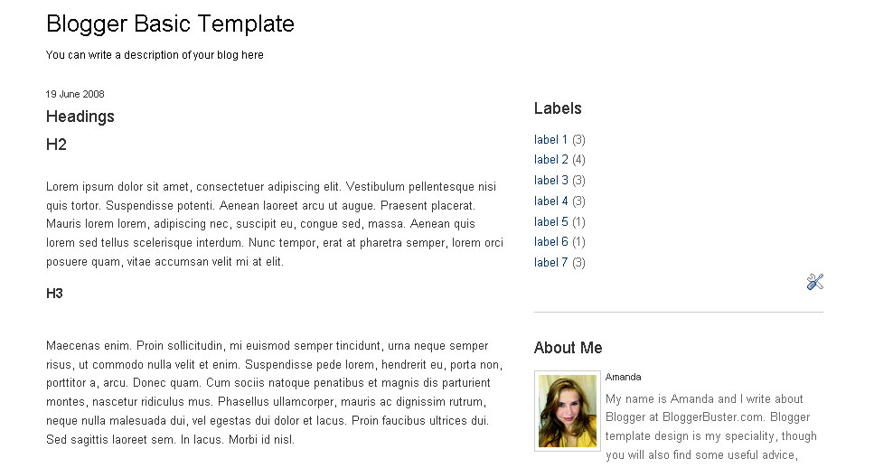 Blogger Basic Template