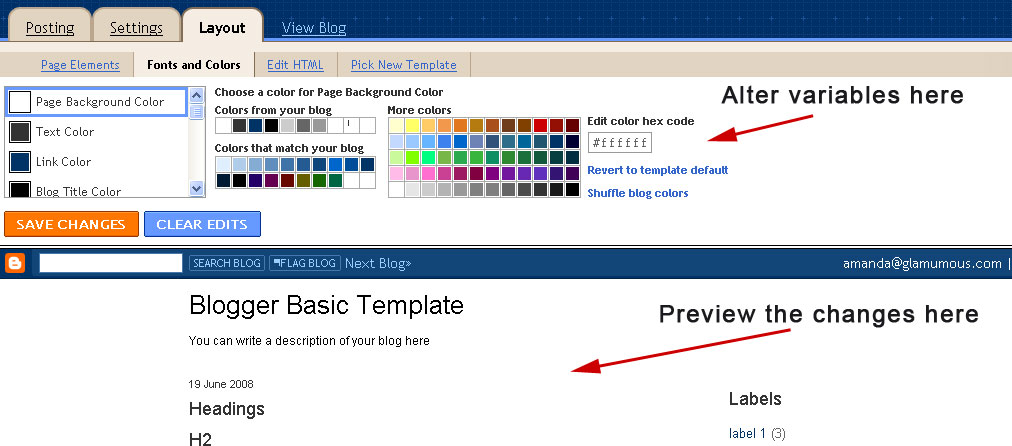 Fonts and Colors screen in Blogger dashboard