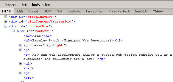 Firebug HTML Formatting