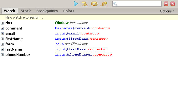 Firebug Script Tab