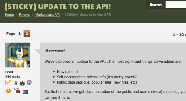 API Forum Screenshot
