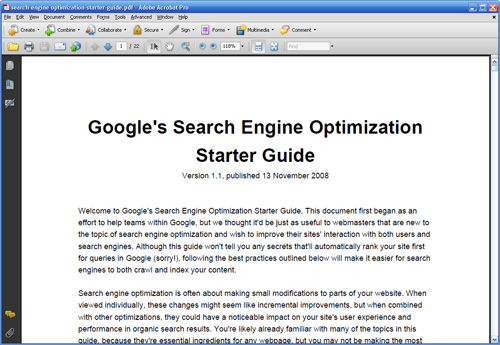 Google Webmasters/Site owners guidelines.