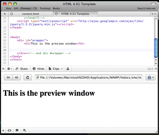 Coda Window Previews